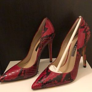 Shoes - Red Faux Snakeskin Pump
